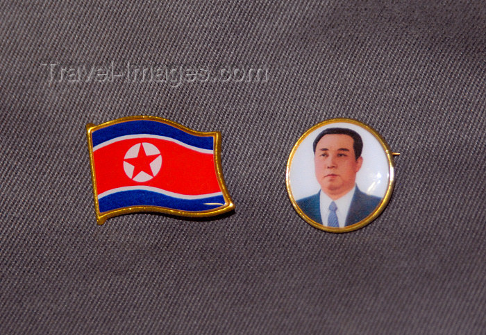 korean5: North Korea / DPRK - Kim Il Sung Pin and North Korean flag on a uniform - badges (photo by Miguel Torres) - (c) Travel-Images.com - Stock Photography agency - Image Bank