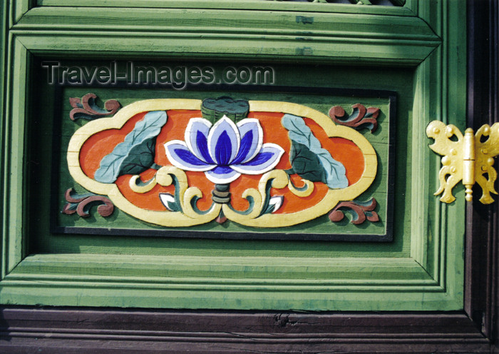 koreas55: Asia - South Korea - Suweon, Gyeonggi-do province: lotus door panel with butterfly hinge - photo by S.Lapides - (c) Travel-Images.com - Stock Photography agency - Image Bank