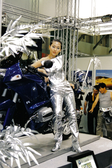 koreas57: Asia - South Korea - Pusan / Busan: model with BMW motorbike - auto show - photo by S.Lapides - (c) Travel-Images.com - Stock Photography agency - Image Bank