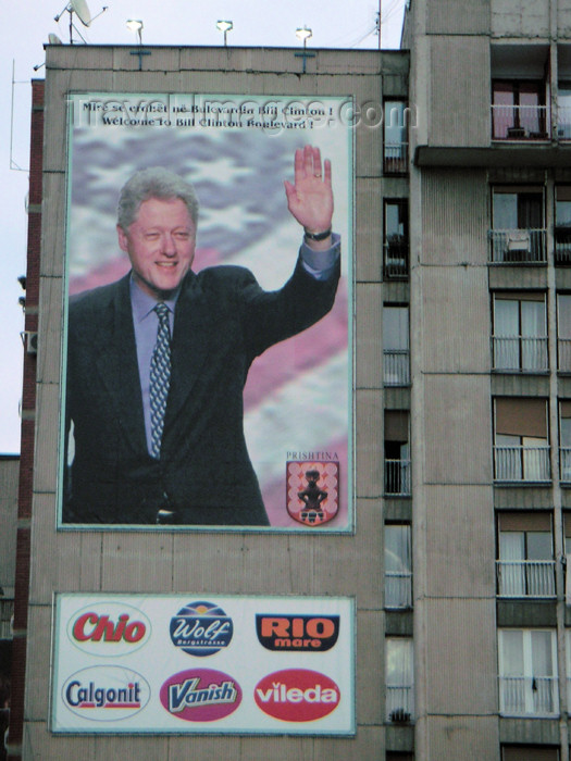 kosovo13: Kosovo - Pristina: Bill Clinton Boulevard - one man's hero another man's war criminal - photo by A.Kilroy - (c) Travel-Images.com - Stock Photography agency - Image Bank