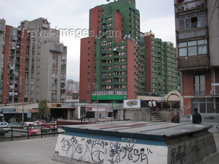 kosovo14: Kosovo - Pristina: Soviet style concrete blocks - photo by A.Kilroy - (c) Travel-Images.com - Stock Photography agency - Image Bank