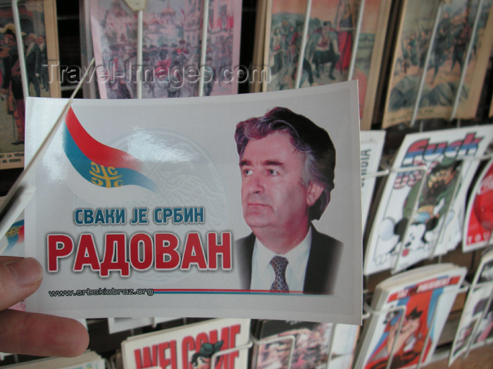 kosovo22: Kosovo - Kosovska Mitrovica: Radovan Karadzic - politician, poet and psychiatrist - postcard - photo by A.Kilroy - (c) Travel-Images.com - Stock Photography agency - Image Bank