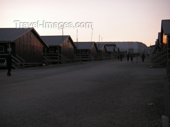 kosovo29: Kosovo: KFOR/U.S. Army Camp Bondsteel - American compound - wooden SEA (South East Asia) huts - photo by A.Kilroy - (c) Travel-Images.com - Stock Photography agency - Image Bank