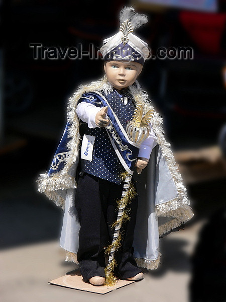 kosovo56: Kosovo - Pec / Peja: dummy dressed in a the attire worn on Muslim Circumcision day - photo by J.Kaman - (c) Travel-Images.com - Stock Photography agency - Image Bank