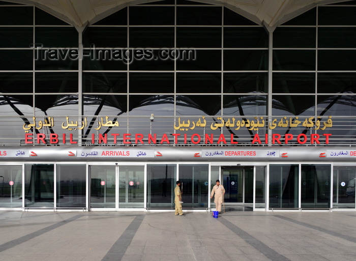 kurdistan110: Erbil / Hewler, Kurdistan, Iraq: Erbil International Airport - terminal building entrance - designed by the Scott Wilson Group, run by the Kurdistan Regional Government - photo by M.Torres - (c) Travel-Images.com - Stock Photography agency - Image Bank