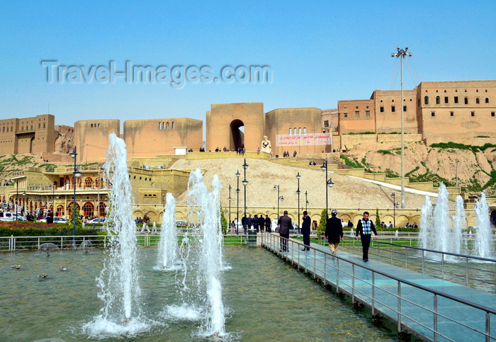 kurdistan9: Erbil / Hewler, Kurdistan, Iraq: the fountains of Shar Park, Erbil's main square, built under the Erbil Citadel - Qelay Hewlêr - UNESCO world heritage site - photo by M.Torres - (c) Travel-Images.com - Stock Photography agency - Image Bank