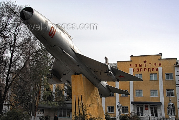 kyrgyzstan44: Bishkek, Kyrgyzstan: Soviet Sukhoi SU-9 Fishpot fighter - Kievskaya avenue - aircraft in front of the headquarters of the National Guard - Uluttuk Gvardya - photo by M.Torres - (c) Travel-Images.com - Stock Photography agency - Image Bank
