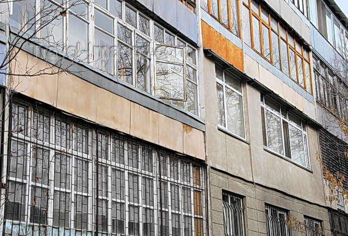 kyrgyzstan52: Bishkek, Kyrgyzstan: façade of an apartment block - photo by M.Torres - (c) Travel-Images.com - Stock Photography agency - Image Bank