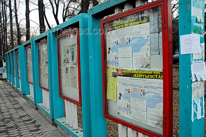 kyrgyzstan54: Bishkek, Kyrgyzstan: newspapers and public info - Erkindik boulevard - photo by M.Torres - (c) Travel-Images.com - Stock Photography agency - Image Bank