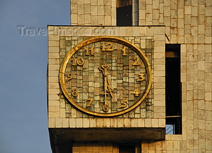 kyrgyzstan55: Bishkek, Kyrgyzstan: the clock marks 5:30 - tower of the Kyrgyztelekom building - corner of Chui and Y.Abdrakhmanov - photo by M.Torres - (c) Travel-Images.com - Stock Photography agency - Image Bank