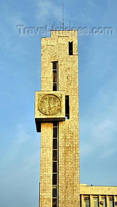 kyrgyzstan56: Bishkek, Kyrgyzstan: clock tower of the Kyrgyztelekom building - corner of Chui and Y.Abdrakhmanov - photo by M.Torres - (c) Travel-Images.com - Stock Photography agency - Image Bank