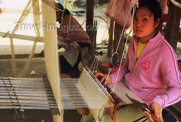laos118: Laos: girl is weaving - artisan - photo by E.Petitalot - (c) Travel-Images.com - Stock Photography agency - Image Bank