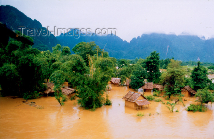 laos68: Laos - Vang Vieng - the effects of the monsoon - Nam Song river enters a village - photo by K.Strobel - (c) Travel-Images.com - Stock Photography agency - Image Bank