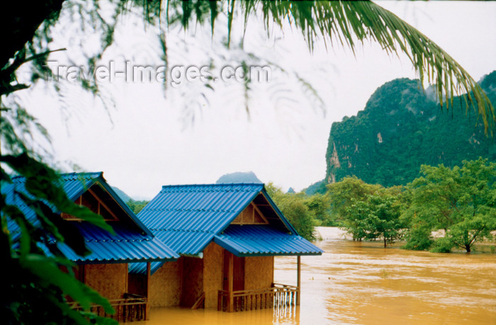 laos69: Laos - Vang Vieng - the effects of the monsoon - flooded houses - photo by K.Strobel - (c) Travel-Images.com - Stock Photography agency - Image Bank