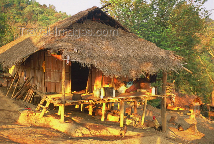 laos7: Laos - Si Phan Don region (4000 islands region): a typical bamboo house in a remote village - photo by E.Petitalot - (c) Travel-Images.com - Stock Photography agency - Image Bank