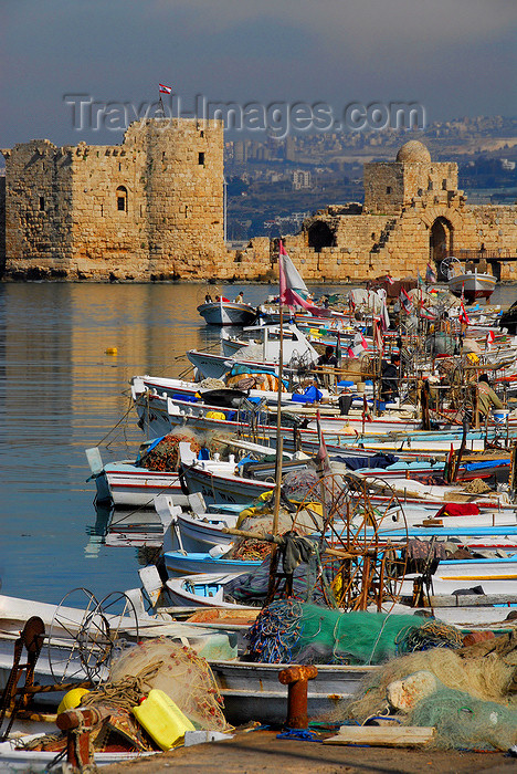 lebanon56: Lebanon, Sidon: fishing boats with view to the crusaders' sea castle - photo by J.Pemberton - (c) Travel-Images.com - Stock Photography agency - Image Bank