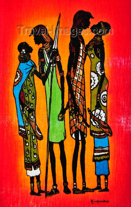 lesotho43: Maseru, Lesotho: painted textile - two couples kiss - photo by M.Torres - (c) Travel-Images.com - Stock Photography agency - Image Bank