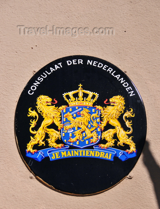 lesotho46: Maseru, Lesotho: Netherlands coat of arms for the Dutch Consulate, at the Lancer's Inn - Pioneer Road - Consulaat der Nederlanden - photo by M.Torres - (c) Travel-Images.com - Stock Photography agency - Image Bank