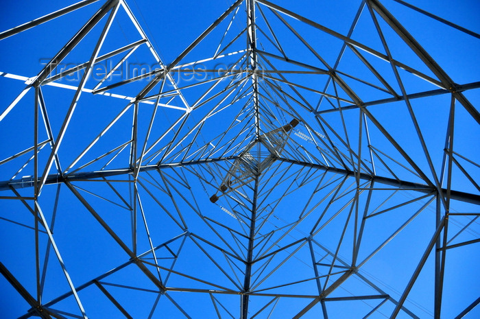 lesotho57: Mohale Dam, Lesotho: electricity pylon - transmission tower seen from inside - steel lattice tower - photo by M.Torres - (c) Travel-Images.com - Stock Photography agency - Image Bank