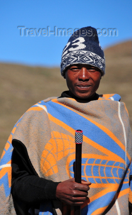 lesotho73: Mohale Dam, Lesotho: blanket-clad shepherd with traditional baton - photo by M.Torres - (c) Travel-Images.com - Stock Photography agency - Image Bank
