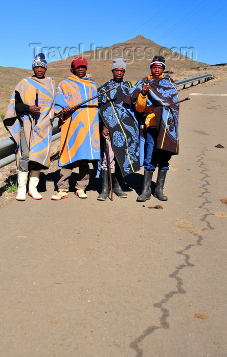 lesotho75: Mohale Dam, Lesotho: four shepherds pose on the road side - photo by M.Torres - (c) Travel-Images.com - Stock Photography agency - Image Bank