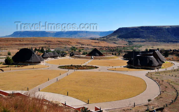 lesotho80: Thaba Bosiu, Lesotho: Thaba Bosiu Cultural Village seen from above - built to showcase Lesotho's traditional and cultural heritage - photo by M.Torres - (c) Travel-Images.com - Stock Photography agency - Image Bank