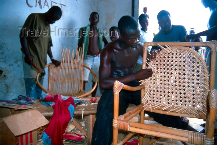 liberia27: Grand Bassa County, Liberia, West Africa: Buchanan - artisan making a bamboo chair - workshop scene - photo by M.Sturges - (c) Travel-Images.com - Stock Photography agency - Image Bank
