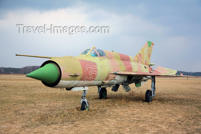 lithuan115: Lithuania - Panevezys / Istra airfield (EYPI): Mikoyan-Gurevich MiG-21MF - Soviet fighter aircraft - Mig-21 - photo by A.Dnieprowsky - (c) Travel-Images.com - Stock Photography agency - Image Bank