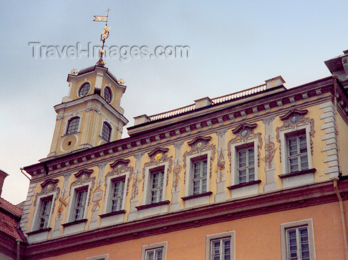 lithuan13: Lithuania - Vilnius: ornate windows - Observatory clock tower as viewed from the yard of the President's Palace on University Street / Universitetu gatve - photo by M.Torres - (c) Travel-Images.com - Stock Photography agency - Image Bank