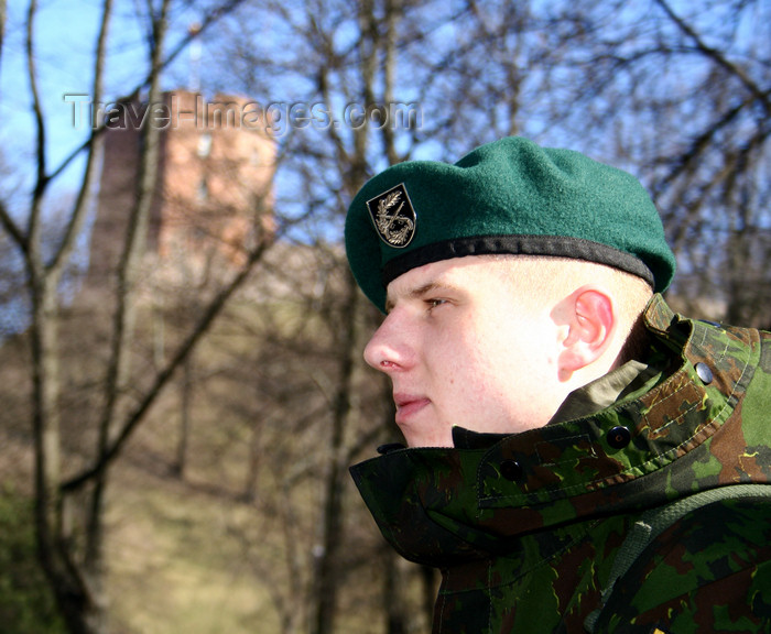 lithuania161: Lithuania - Vilnius: Lithuanian army soldier -  Gediminas' castle  in the background - photo by Sandia - (c) Travel-Images.com - Stock Photography agency - Image Bank