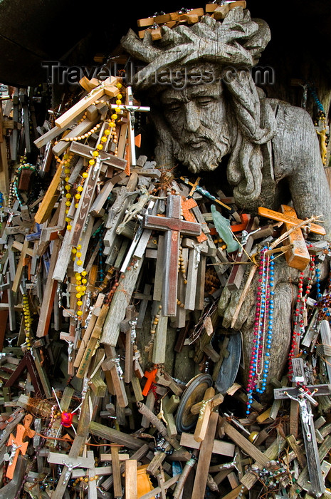 lithuania199: Siauliai, Lithuania: Hill of Crosses - Christ amid the crosses - photo by J.Pemberton - (c) Travel-Images.com - Stock Photography agency - Image Bank