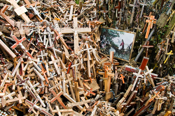 lithuania201: Siauliai, Lithuania: Hill of Crosses - painting and a million crosses - photo by J.Pemberton - (c) Travel-Images.com - Stock Photography agency - Image Bank
