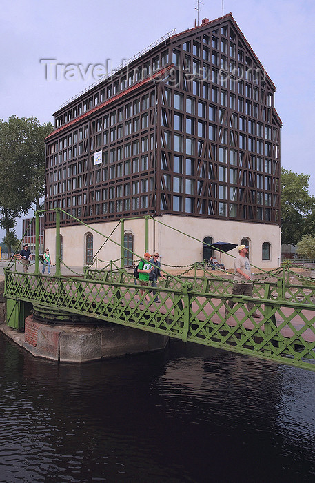 lithuania207: Klaipeda, Lithuania: rotating bridge and an old warehouse that became an hotel - marina area - photo by A.Dnieprowsky - (c) Travel-Images.com - Stock Photography agency - Image Bank