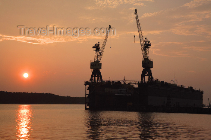 lithuania212: Klaipeda, Lithuania: dry dock at sunset - photo by A.Dnieprowsky - (c) Travel-Images.com - Stock Photography agency - Image Bank