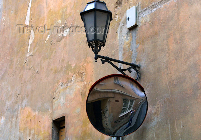 lithuania225:  Vilnius, Lithuania: back street - mirror and lamp - photo by A.Dnieprowsky - (c) Travel-Images.com - Stock Photography agency - Image Bank