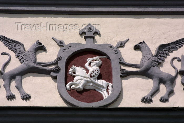 lithuania90: Lithuania - Vilnius: the Gates of Dawn - Ausros vartai - coat of arms detail - the Vytis, a knight in white armour on horseback - photo by A.Dnieprowsky - (c) Travel-Images.com - Stock Photography agency - Image Bank