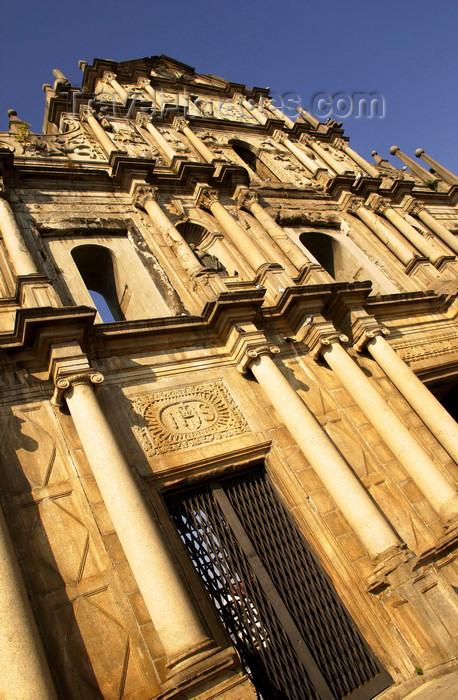 macao1: Macao, China - façade of Sao Paulo Cathedral  - Unesco world heritage - Historic Centre of Macao - Ruinas de São Paulo - Fachada da Igreja de São Paulo - igreja Jesuita - arquitecto: Carlo Spinola - photo by B.Henry - (c) Travel-Images.com - Stock Photography agency - Image Bank