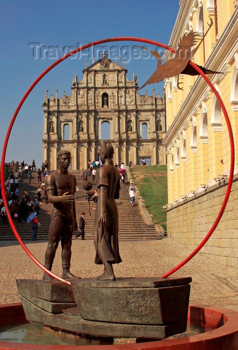 macao2: Macao, China - friendship - statues near Sao Paulo Cathedral  - amizade - estátuas junto às Ruinas de São Paulo - photo by B.Henry - (c) Travel-Images.com - Stock Photography agency - Image Bank