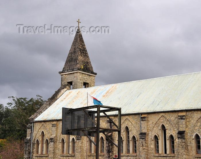 madagascar127: Andasibe, Alaotra-Mangoro, Toamasina Province, Madagascar: church and basketball goal - photo by M.Torres - (c) Travel-Images.com - Stock Photography agency - Image Bank