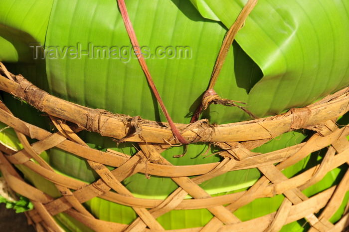 madagascar150: Soanierana Ivongo, Analanjirofo, Toamasina Province, Madagascar: Malagasy 'cargo container' using a basket and banana leaves - photo by M.Torres - (c) Travel-Images.com - Stock Photography agency - Image Bank