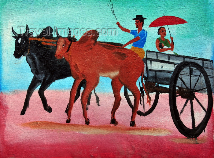 madagascar259: West coast road between the Tsiribihina river and Alley of the Baobabs, Toliara Province, Madagascar: traditional tomb - painting of a zebu cart - photo by M.Torres - (c) Travel-Images.com - Stock Photography agency - Image Bank