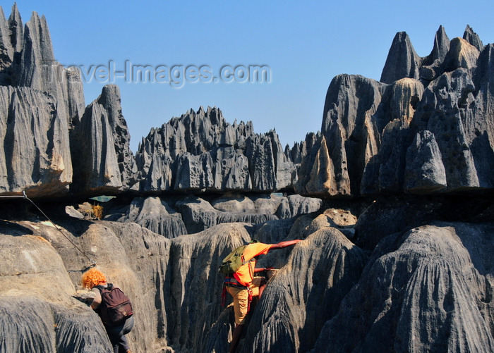 madagascar304: Tsingy de Bemaraha National Park, Mahajanga province, Madagascar: ropes and climbing equipment are essential, it is a strenuous visit - karst limestone formation - UNESCO World Heritage Site - photo by M.Torres - (c) Travel-Images.com - Stock Photography agency - Image Bank