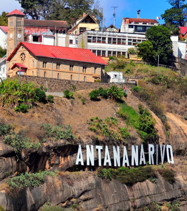 madagascar335: Antananarivo / Tananarive / Tana - Analamanga region, Madagascar: Hollywood style Antananarivo sign on the cliffs - Ampamarinana protestant church and the falaise de Ampamarinana - photo by M.Torres - (c) Travel-Images.com - Stock Photography agency - Image Bank