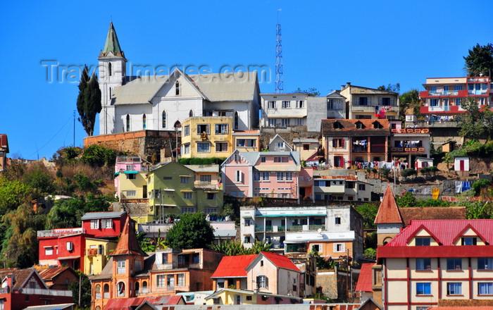 madagascar336: Antananarivo / Tananarive / Tana - Analamanga region, Madagascar: church perched on a hill - houses on the slope - Haute-Ville - photo by M.Torres - (c) Travel-Images.com - Stock Photography agency - Image Bank