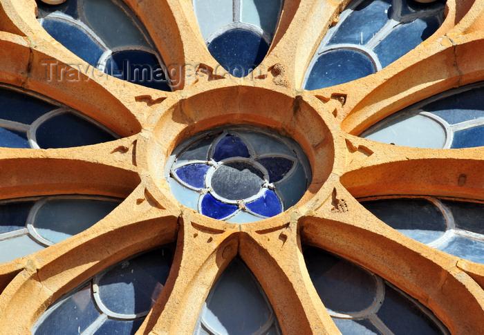 madagascar384: Antananarivo / Tananarive / Tana - Analamanga region, Madagascar: Gothic rose window of Andohalo Catholic cathedral - glass and stone mullions - photo by M.Torres - (c) Travel-Images.com - Stock Photography agency - Image Bank