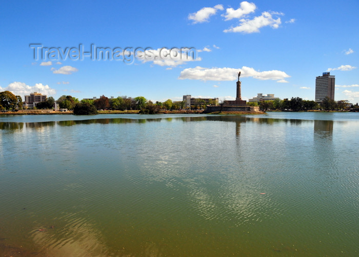 madagascar4: Antananarivo, Madagascar: Anosy Lake with Monument aux Morts and the Carlton Hotel - photo by M.Torres - (c) Travel-Images.com - Stock Photography agency - Image Bank