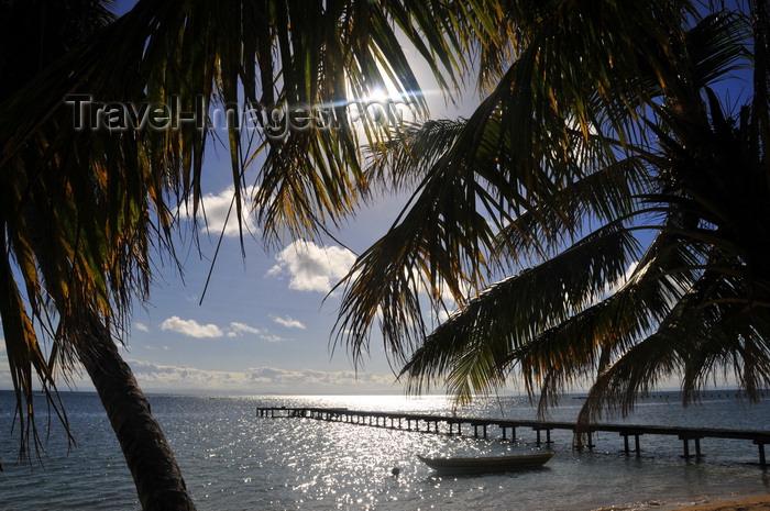madagascar54: Vohilava, Île Sainte Marie / Nosy Boraha, Analanjirofo region, Toamasina province, Madagascar: pier and coconut trees agains the sun - photo by M.Torres - (c) Travel-Images.com - Stock Photography agency - Image Bank