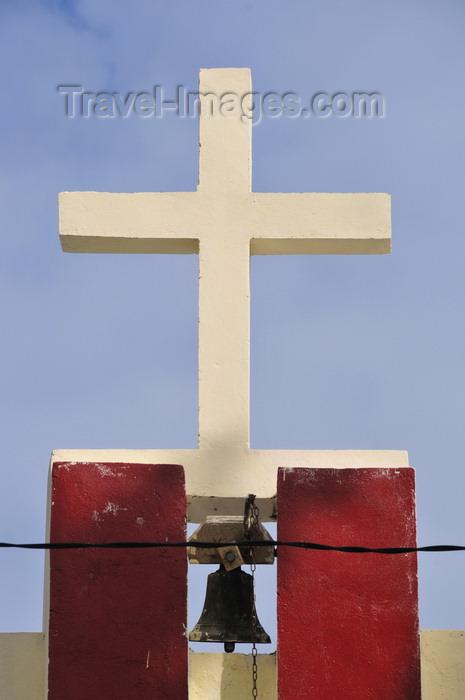 madagascar73: Vohilava, Île Sainte Marie / Nosy Boraha, Analanjirofo region, Toamasina province, Madagascar: the church - cross and bell - photo by M.Torres - (c) Travel-Images.com - Stock Photography agency - Image Bank
