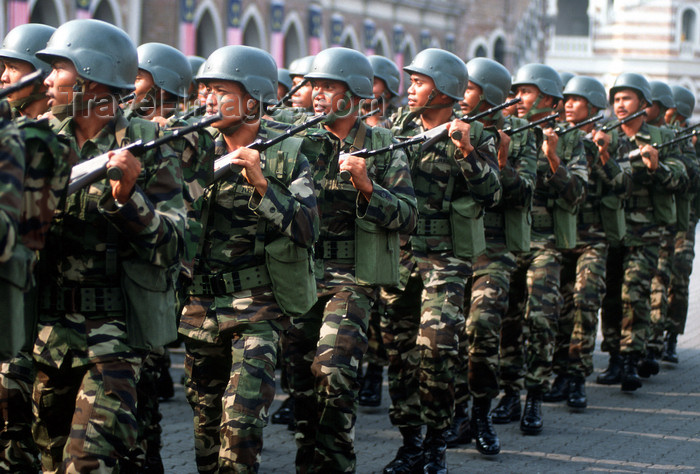mal473: National day military parade - troops, Kuala Lumpur, Malaysia - photo by B.Lendrum - (c) Travel-Images.com - Stock Photography agency - Image Bank