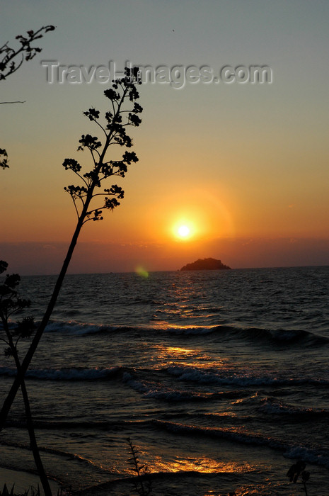 malawi5: Senga Bay, Lake Nyasa, Central region, Malawi: sunrise - islet and century plants - photo by D.Davie - (c) Travel-Images.com - Stock Photography agency - Image Bank